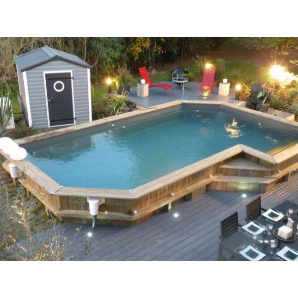 piscine hors sol bois semi enterrée