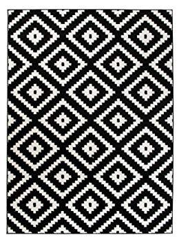 tapis geometrique noir et blanc